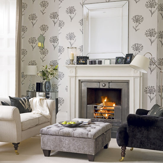 Charcoal and cream home gallery for Next living room designs