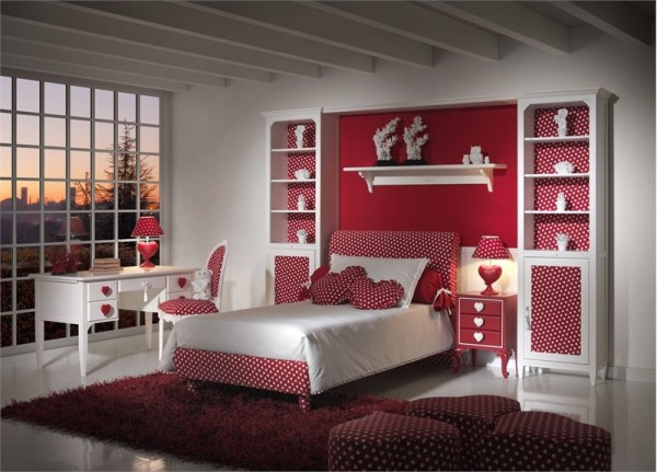 heart themed kids room red polka dot design