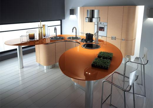 modern italian rounded kitchens