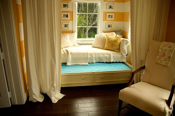 melon striped orange bedroom