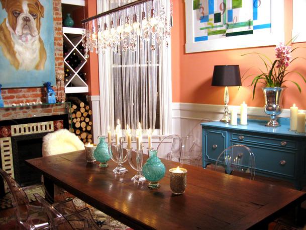 Orange blue dinning room