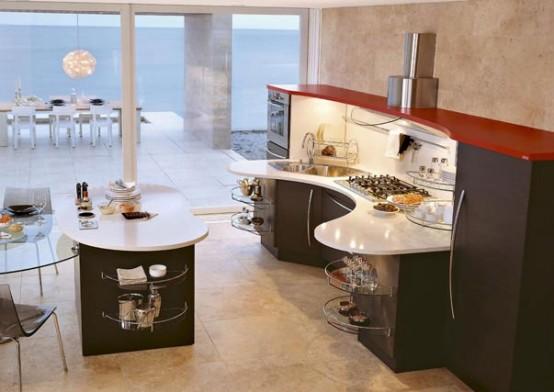 Curved contemporary kitchen design ideas home gallery for Modern kitchen designs 2010