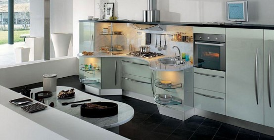 Curved contemporary white kitchen design ideas home gallery for Kitchen ideas 2010