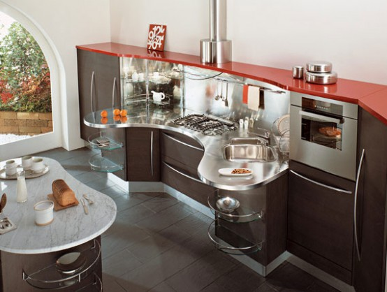 contemporary brown red kitchen design ideas